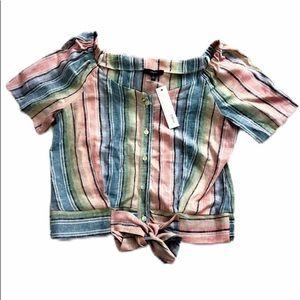 NWT DREW Striped Pastel Rainbow Linen Blouse